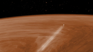 Visualisation of Venus Express during the aerobraking manoeuvre, which will see the spacecraft orbiting Venus at an altitude of around 130 km from 18 June to 11 July. © ESA-C. Carreau